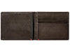 Mocha Leather Wallet With Anchor Metal Plate cash strap inside empty