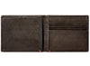 Mocha Leather Wallet With Zippo Flame Metal Plate cash strap inside empty