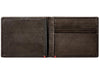 Mocha Leather Wallet With Bass Metal Plate cash strap inside empty