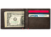 Mocha Leather Wallet With Anchor Metal Plate cash strap inside full