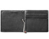 Black Leather Wallet With Anchor Metal Plate design money clip inside empty
