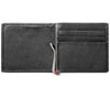 Black Leather Wallet With Spade Metal Plate design money clip inside empty