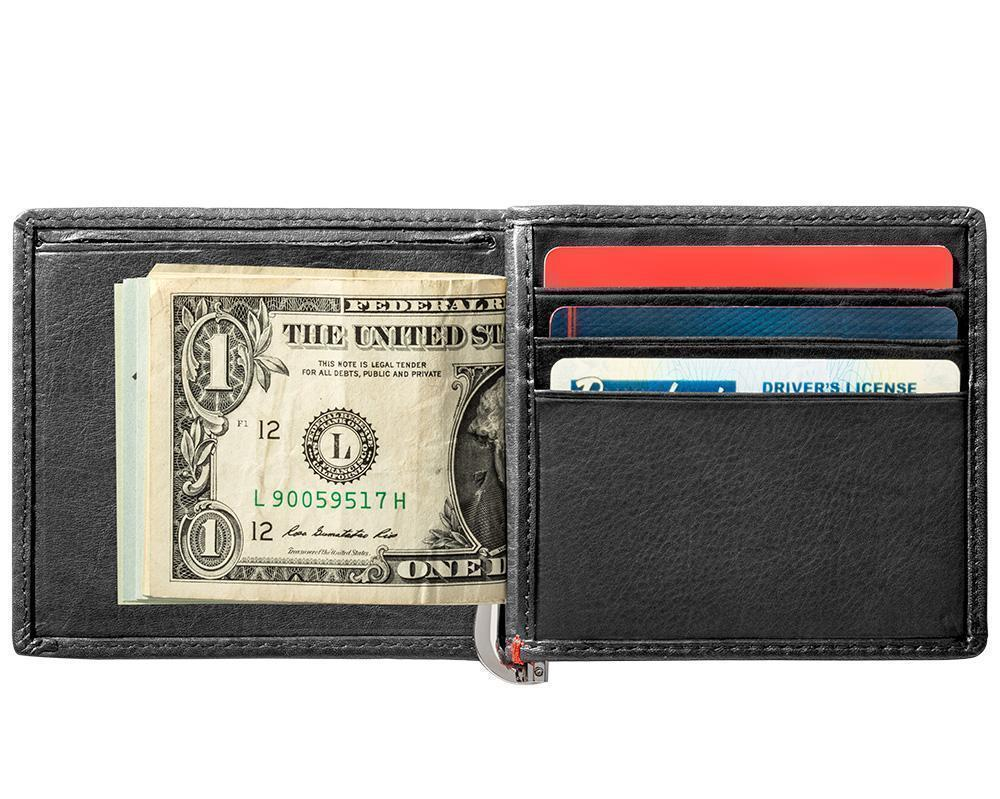 Black Leather Wallet With Spade Metal Plate design money clip inside full