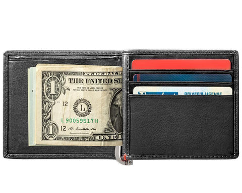 Black Leather Wallet With Zippo Flame Metal Plate design money clip inside full