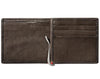 Mocha Leather Wallet With Anchor Metal Plate money clip inside empty