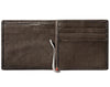 Mocha Leather Wallet With Viking Metal Plate money clip inside empty