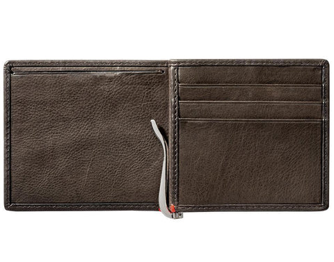 Mocha Leather Wallet With Spade Metal Plate money clip inside empty