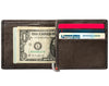 Mocha Leather Wallet With Spade Skull  Metal Plate money clip inside full