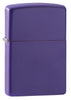 Purple Matte windproof lighter facing forward at a 3/4 angle
