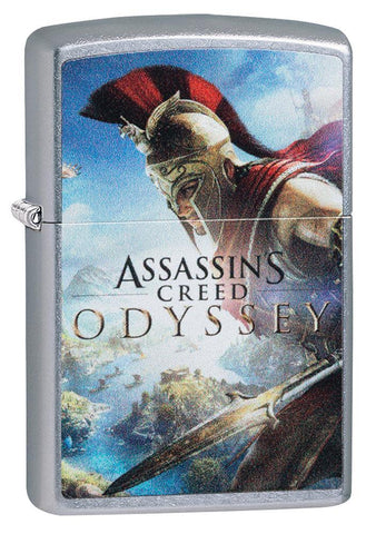 Assassins Creed Odyssey Street Chrome windproof lighter facing forward at a 3/4 angle