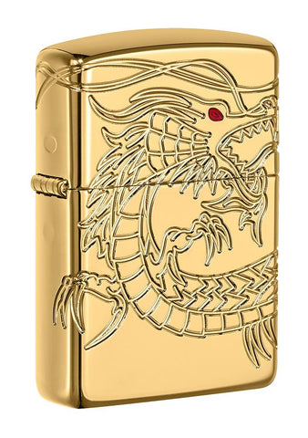 Front shot of Armor® Asian Dragon 360-Degree Gold-Plate Windproof Lighter standing at a 3/4 angle