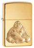 29626, Golden Laughing Buddha, Emblem Attached, High Polish Chrome Finish, Classic Case