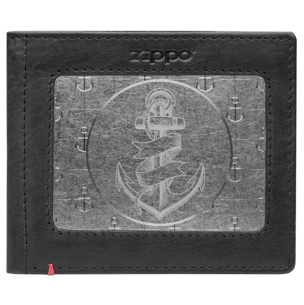 Front of black Leather Wallet With Anchor Metal Plate Design - ID Window