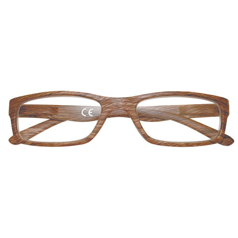 '+2.50 Power Slender Brown Walnut Reading Glasses