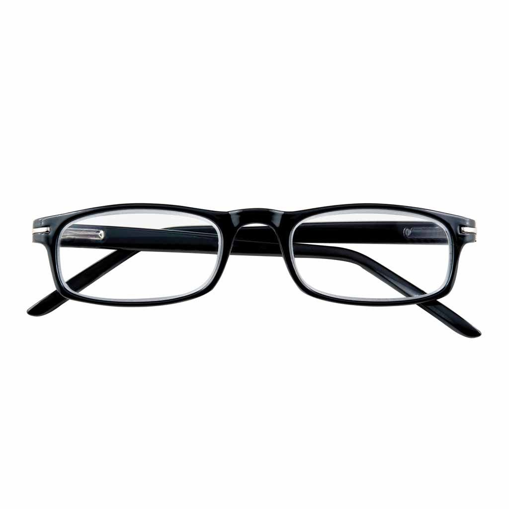Slender Black Rectangular Readers with Silver Accents