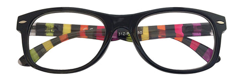 +2.50 Power Black & Rainbow Striped Readers
