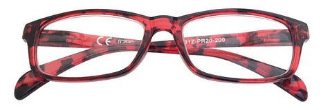 '+1.00 Power Red and Black Patterned Readers