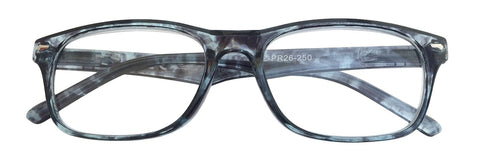 +2.50 Power Grey, Patterned Readers with Silver Accents