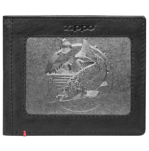 Front of black Leather Wallet With Bass Metal Plate Design - ID Window