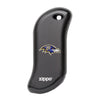 Front of black NFL Baltimore Ravens: HeatBank 9s Rechargeable Hand Warmer