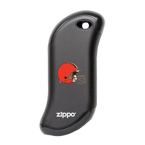 Front of black NFL Cleveland Browns: HeatBank 9s Rechargeable Hand Warmer