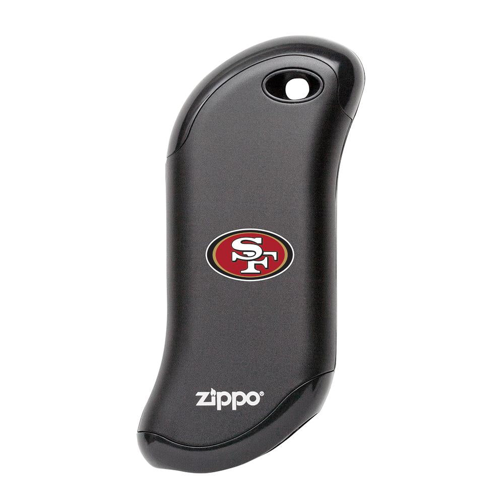Front of black NFL San Francisco 49ers: HeatBank 9s Rechargeable Hand Warmer
