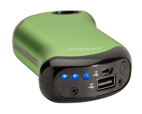 Green HeatBank® 9s Rechargeable Gaming Hand Warmers laying flat showing lights and charger input/outputs and button