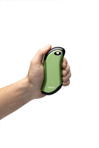 Green HeatBank® 9s Rechargeable Gaming Hand Warmers in hand