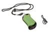 Green HeatBank® 9s Rechargeable Gaming Hand Warmers with included lanyard and USB charger