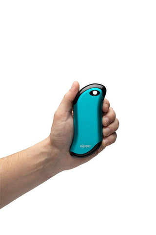 Blue HeatBank® 9s Rechargeable Gaming Hand Warmers in hand