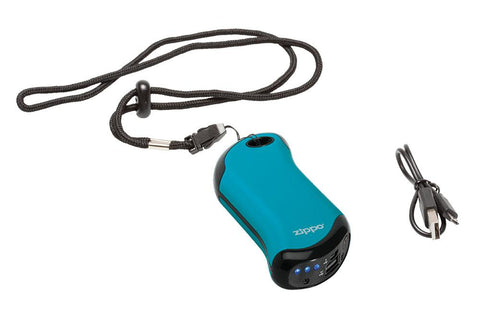 Blue HeatBank® 9s Rechargeable Gaming Hand Warmers with included lanyard and charging cable