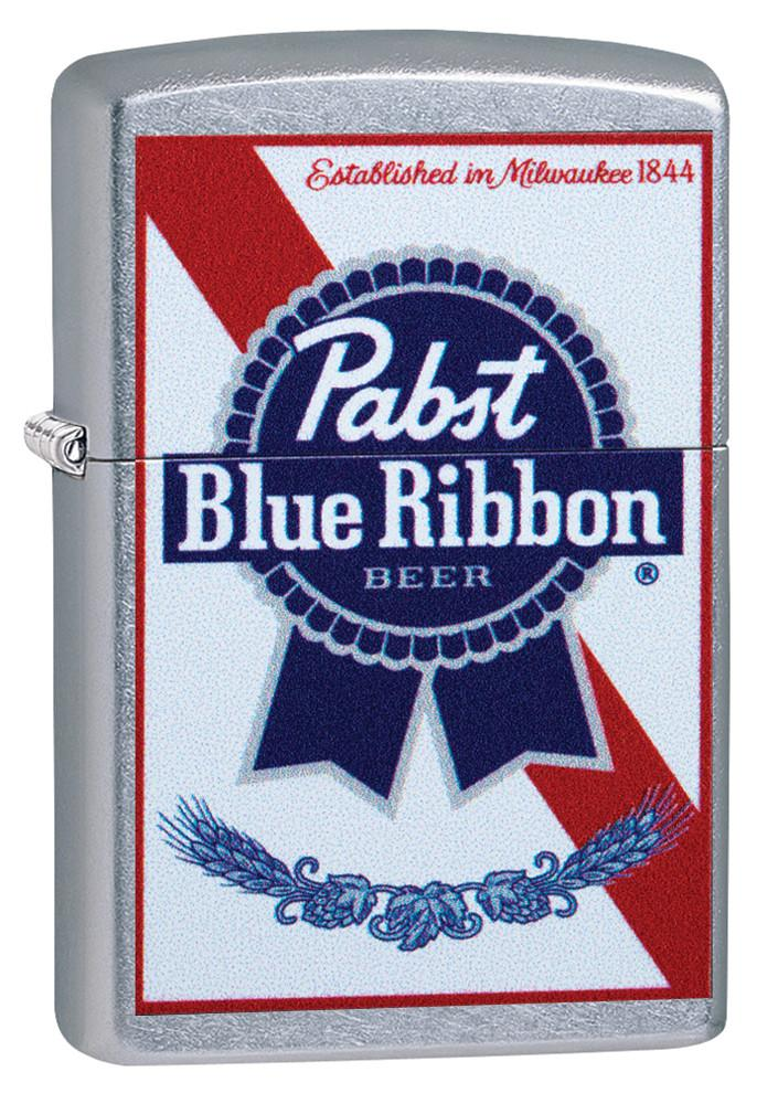 Front of Pabst Blue Ribbon windproof ligher standing at a 3/4 angle