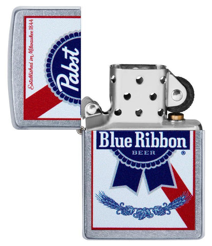 Pabst Blue Ribbon windproof lighter with its lid open and not lit