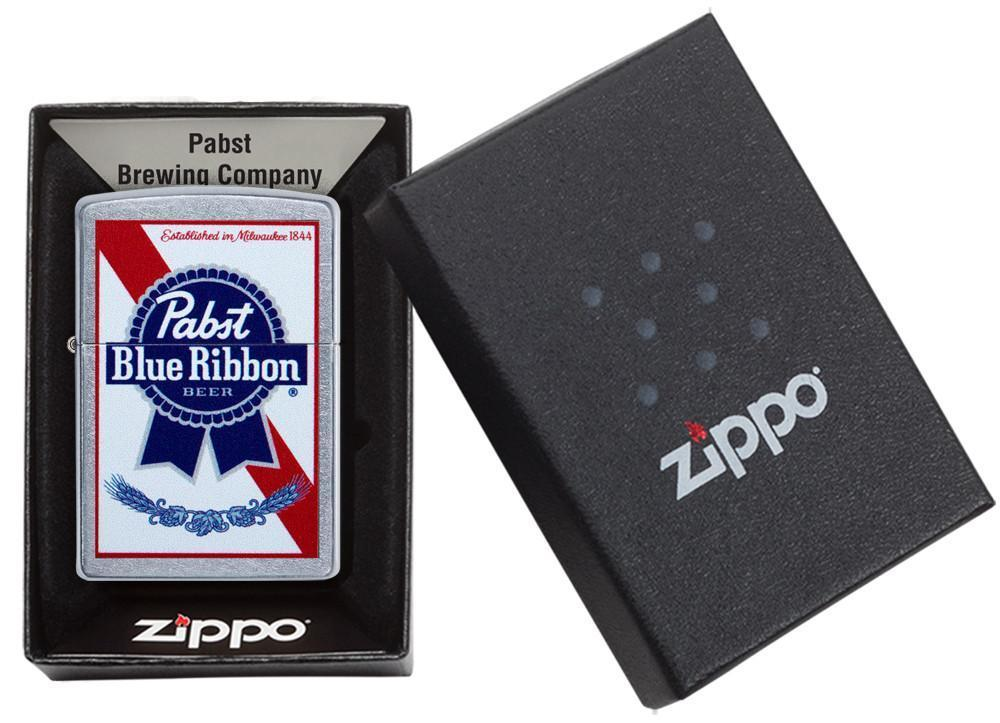 Pabst Blue Ribbon windproof lighter in its packaging
