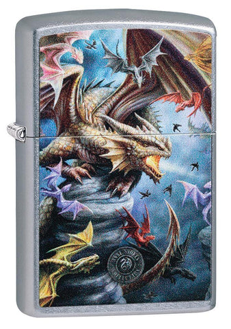 Anne Stokes Dragon Design Street Chrome windproof lighter facing forward at a 3/4 angle