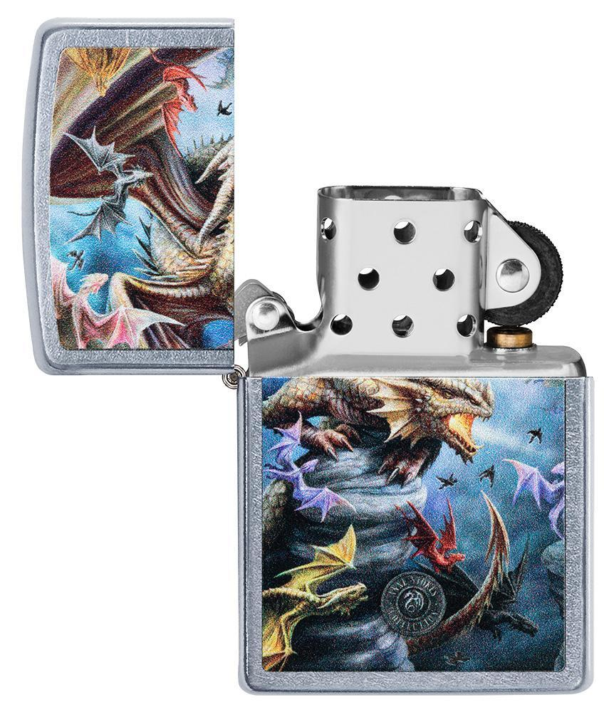 Anne Stokes Dragon Design Street Chrome windproof lighter with its lid open and not lit