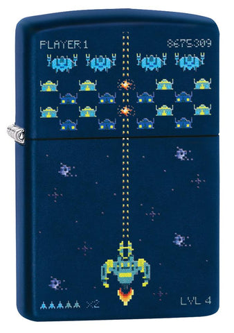 Pixel Game Navy Matte windproof lighter facing forward at a 3/4 angle