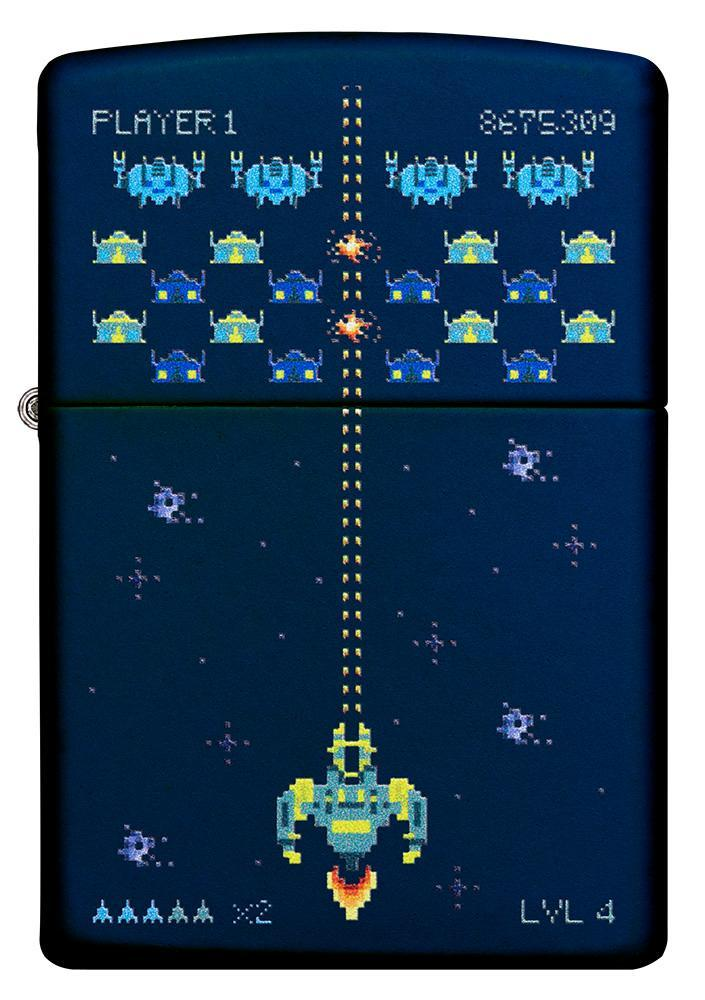 Front of Pixel Game Navy Matte windproof lighter