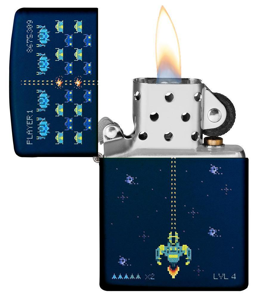 Pixel Game Navy Matte windproof lighter with its lid open and lit
