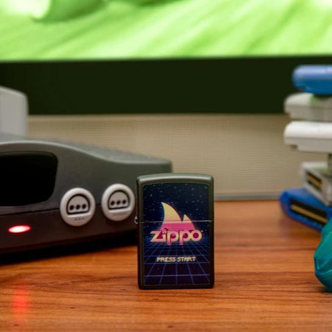 Lifestyle image of Gaming Design Black Matte windproof lighter standing in front of Nintendo N64 gaming console