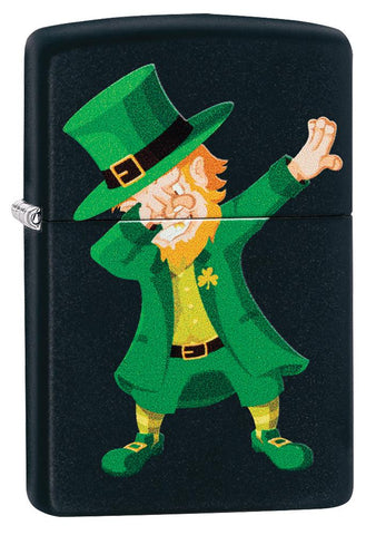Dabbing Leprechaun Black Matte Windproof Lighter facing forward at a 3/4 angle