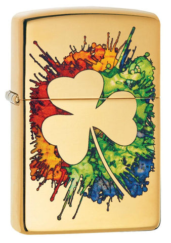 Graffiti Clover Design High Polish Brass Windproof Lighter facing forward at a 3/4 angle