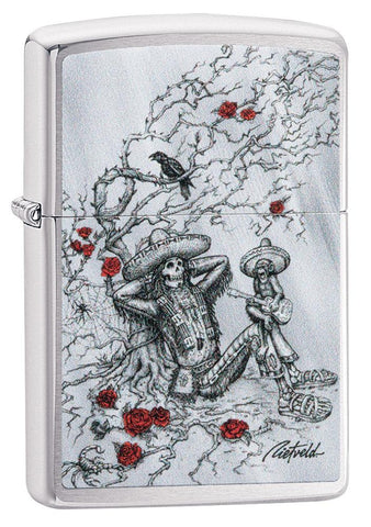 Rietveld Skeleton design Brushed Chrome windproof lighter facing forward at a 3/4 angle