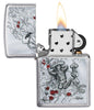 Rietveld Skeleton design Brushed Chrome windproof lighter with its lid open and lit