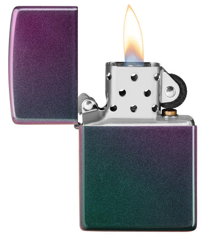 Iridescent windproof lighter with the lid open and lit