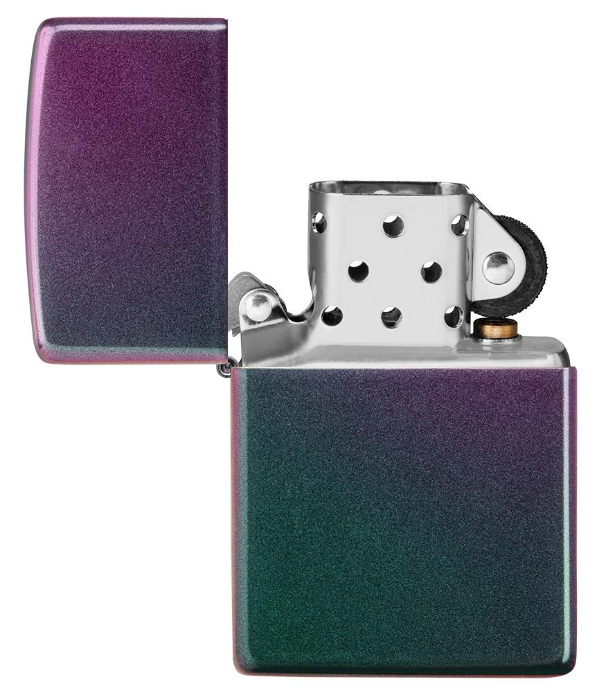 Iridescent windproof lighter with the lid open and not lit