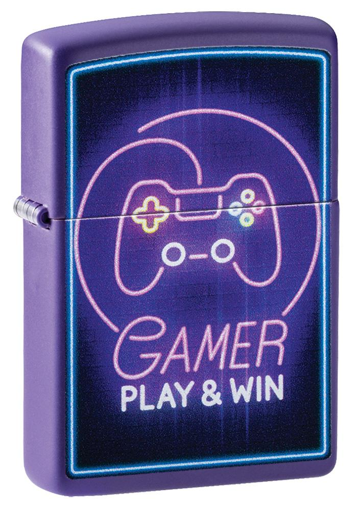 Gamer Purple Matte windproof lighter facing forward at a 3/4 angle