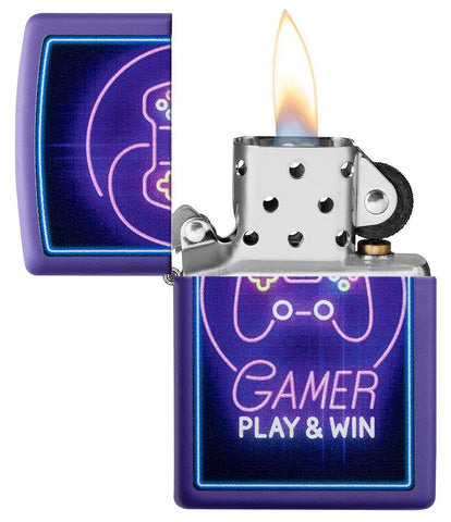 Gamer Purple Matte windproof lighter with its lid open and lit
