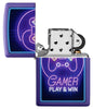 Gamer Purple Matte windproof lighter with its lid open and not lit