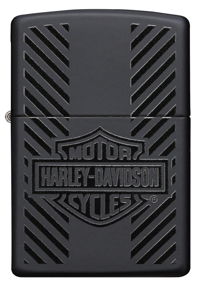 Front of Harley-Davidson® Classic Logo Black Matte Windproof Lighter